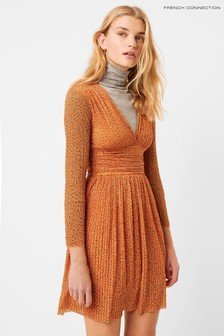 French Connection Orange Tabia Pleated Printed Jersey V-Neck Dress