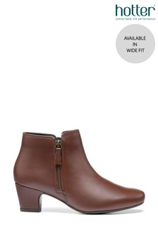 Hotter Brown Delight II Wide Fit Zip Fastening Ankle Boots