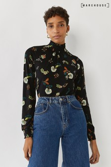 Warehouse Black Floral Shirred Neckline Top
