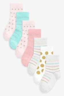 7 Pack Pretty Spot Stripe Socks