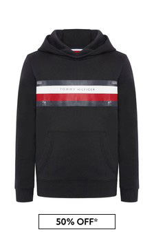 Tommy Hilfiger Boys Black Cotton Hoody