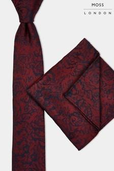 طقم من ربطة عنق ومنديل مربع للجيب نبيذي من Moss London