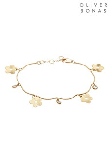 Oliver Bonas Gold Tone Posy Flower & Gem Charm Linked Chain Bracelet