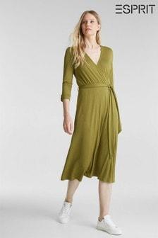 Esprit Yellow Midi Wrap Knitted Dress