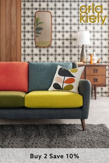 Orla Kiely Fern Large Sofa with Walnut Feet