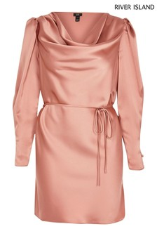 River Island Petite Pink Light Cowl Neck Dress