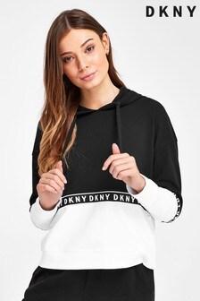 DKNY White Logo Cropped Sweatshirt