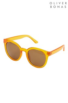 Oliver Bonas Preppy Round Orange Sunglasses