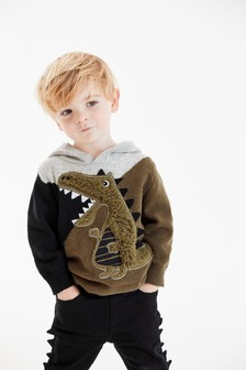 Coloublock Dragon Knitted Hoody (3mths-7yrs)