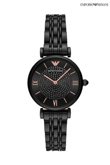 Emporio Armani Black/Rose Gold Tone Stainless Steel Watch