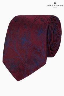 Jeff Banks Red Etching Design Floral Silk Tie