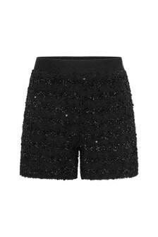 Girls Black Tweed Shorts