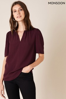 Monsoon Purple Embellished Trim Sustainable Top