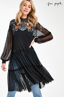 Free People Black Mesh Ruffle Midi Dress