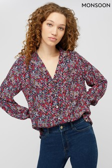 Monsoon Red Ivy Printed Viscose Blouse