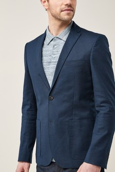 Stretch Linen Skinny Fit Jacket