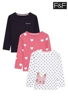 F&F Kids Multi 3 Pack Bunny Long Sleeve Tee