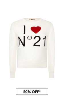 N°21 Girls White Cotton Knitted Jumper