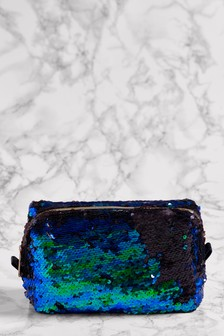 Blue Sequin Make Up Bag