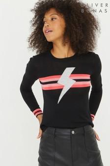 Oliver Bonas Stripe Lightning Bolt Black Jumper