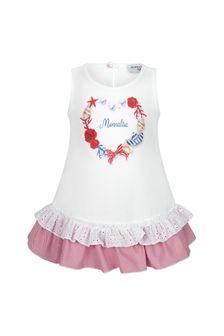 Monnalisa Baby Girls White Cotton Girls Maxi T-Shirt