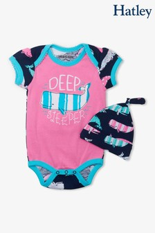 Hatley Pink Nautical Whales Bodysuit With Hat