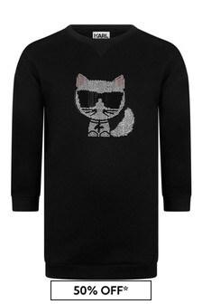 Girls Black Cotton Choupette Sweater Dress
