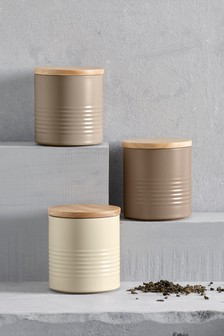 Set of 3 Neutral Ripple Storage Tins