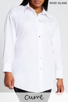 River Island White Open Back Shirt