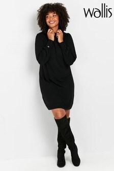 Wallis Black Roll Neck Swing Dress