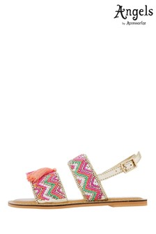 Angels by Accessorize Pink Chevron Beaded Tassel Sandals