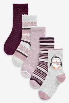 5 Pack Christmas Penguin And Fairisle Pattern Socks