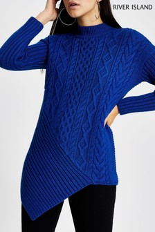 River Island Blue Oscar Cable Asymmetric Jumper