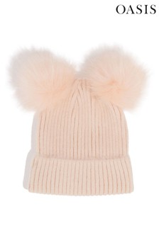 Oasis Pink Double Pom Beanie