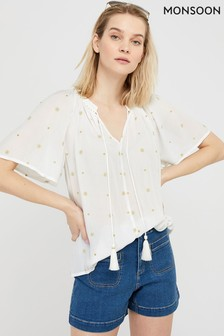 Monsoon Cream Alder Embroidery Ecovero™ Top