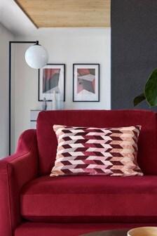 Red Retro Cut Velvet Geo Cushion