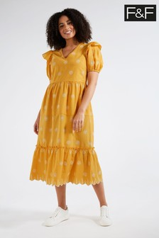 F&F Yellow Embroidery Midi Dress