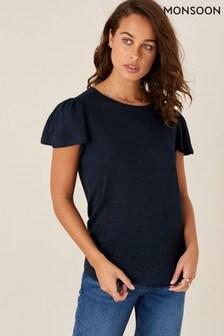 Monsoon Blue Flutter Sleeve Linen T-Shirt