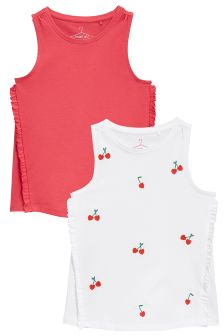 Cherry Embroidered Vests Two Pack (3-16yrs)