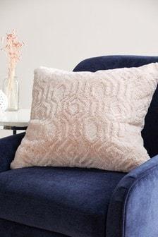 Pink Freya Textured Geo Faux Fur Cushion