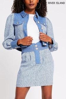 River Island Blue Cropped Bouclé Denim Mix Jacket