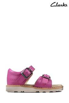 Clarks Hot Pink Leather Crown Bloom T Sandals