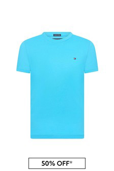Tommy Hilfiger Boys Blue Cotton T-Shirt