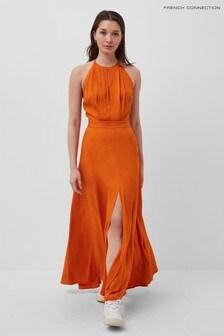 French Connection Orange Dua Drape Keyhole Maxi Dress