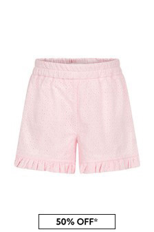 Monnalisa Baby Girls Pink Cotton Shorts