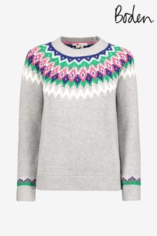 Boden Grey Emma Fairisle Pattern Jumper