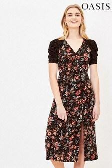 Oasis Black Patch Print Midi Dress