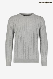 Raging Bull Grey Signature Cable Knit Crew Neck Jumper
