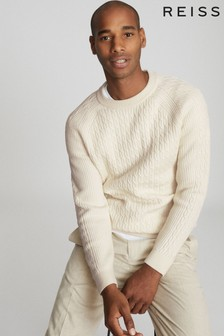 Reiss Cream Ripper Cable Knit Jumper