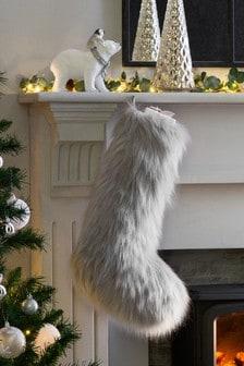 Grey Faux Fur Stocking